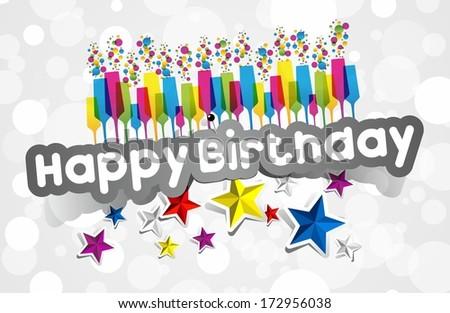 Happy Birthday Card With Stars vector illustration - stock vector