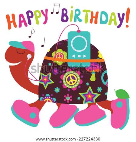 Happy Birthday Card Turtle Stock Vector 227224330 Shutterstock