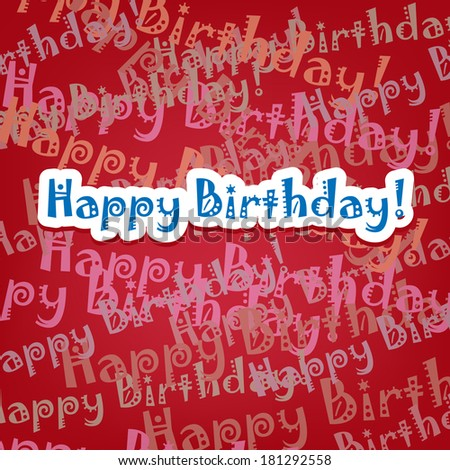 Happy birthday card with typo pattern on red - stock vector