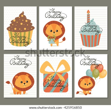 Happy birthday cards birthday cute lion stock vector 425916850 happy birthday cards for birthday with cute lion desserts gift box and calligraphy bookmarktalkfo Image collections