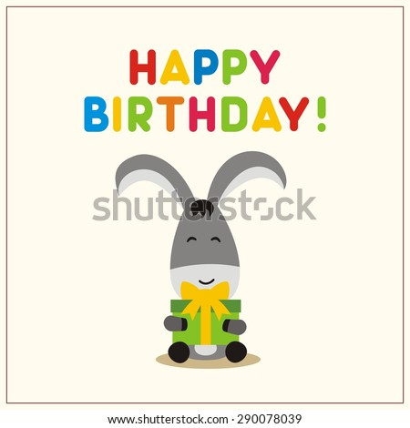 Happy Birthday Cartoon Donkey Birthday Gift Vector 290078039 – Donkey Birthday Card