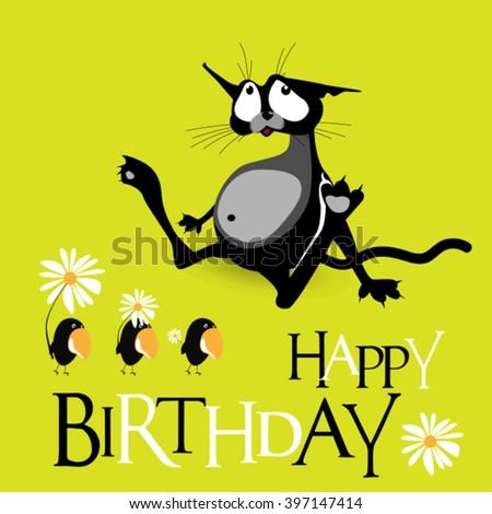 Happy Birthday cat birds smile - stock vector