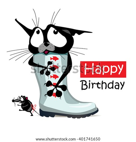 Happy Birthday cat mouse - stock vector