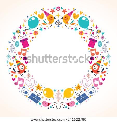 Happy Birthday circle frame border design - stock vector