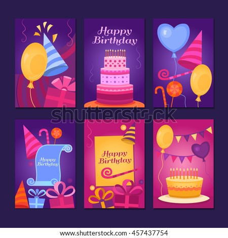 Happy Birthday Collection greeting templates. Invitation cards to the party. Vector banners with cake, balloons, candy, gifts. - stock vector