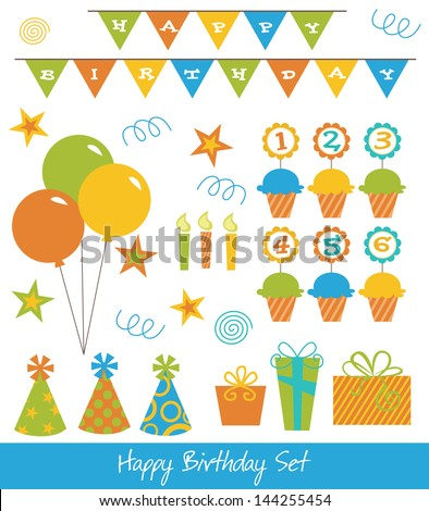 happy birthday collection. vector illustration