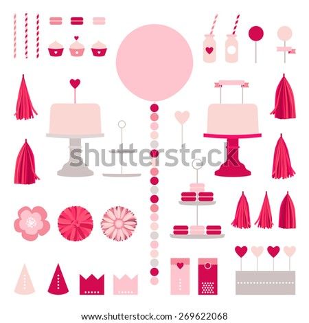 Happy birthday collection with cake, party elements, pink princess decoration, garland, tissue, balls, tube, macaroons, crown, design elements for invitation girl party - stock vector