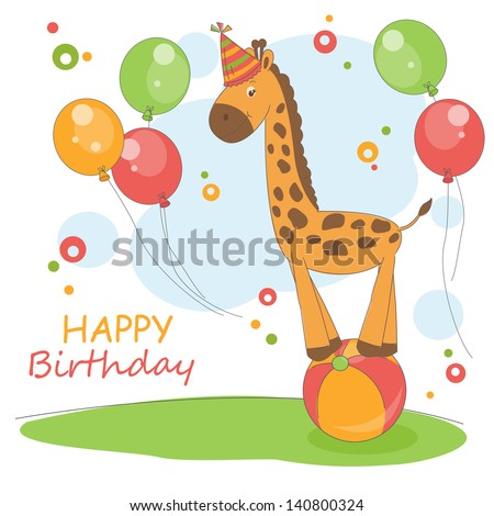 Happy Birthday. Colorful illustration of cute little giraffe and air balloons. - stock vector
