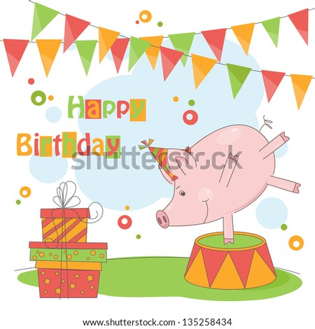 Happy Birthday. Colorful illustration of cute little pig playing .