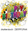 Happy Birthday - Comic book style card isolated on white background. - stock vector