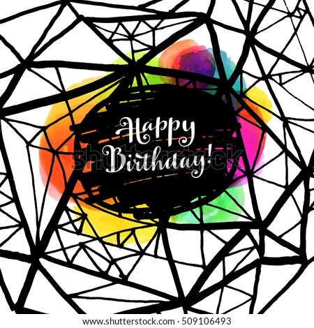 Happy Birthday Creative Artistic Trendy Bright Stock Vector