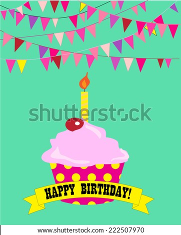 Happy birthday cupcake with candle and banner. EPS10 format vector - stock vector