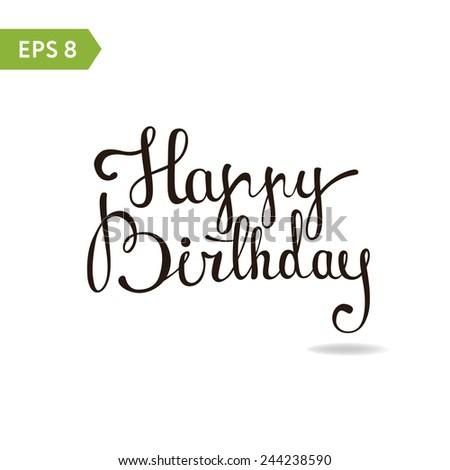 Happy Birthday - custom handmade lettering, calligraphy (card, banner, poster) - stock vector