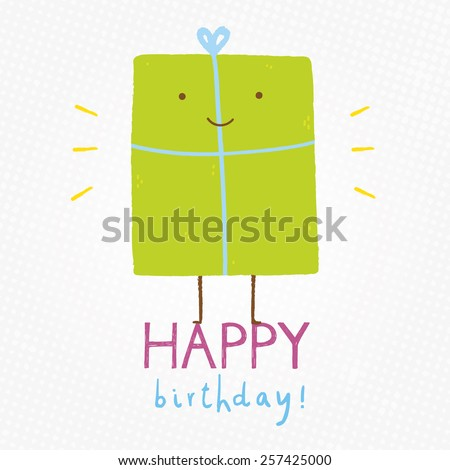 Happy Birthday cute and funny illustration. Gift box cartoon character. Smiley face character for your design. Happy birthday card - stock vector