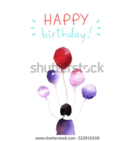 Happy Birthday cute and funny illustration. Girl character with balloons. Funny character for your design. Happy birthday card - stock vector