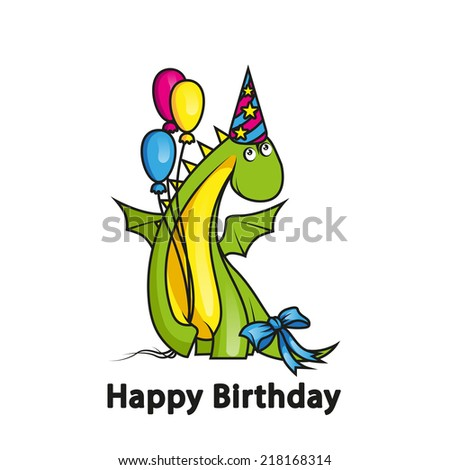 Happy birthday. Cute cartoon dragon wearing party hat and holding balloons - stock vector