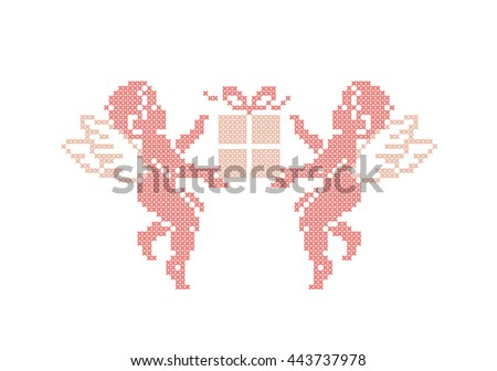 Happy birthday! Cute Cupids with gift box. Cupid angels. Cross stitch. Vector element embroidery. - stock vector