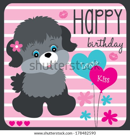 happy birthday cute dog vector illustration - stock vector