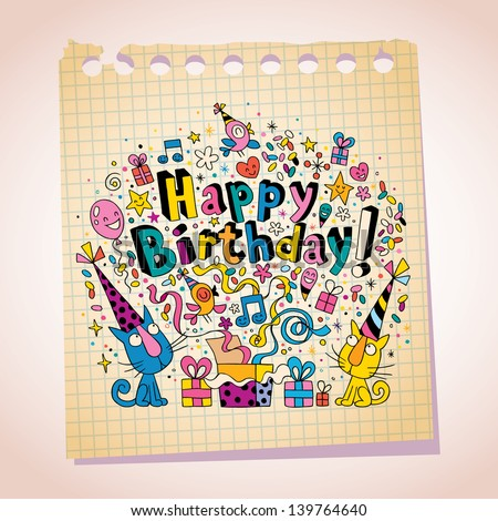 Happy Birthday cute kittens note paper cartoon sketch - stock vector