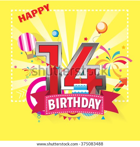 Happy Birthday 14 date , fun celebration greeting card with number, text label and colorful geometry design. EPS10 vector.