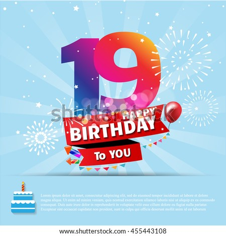19 Birthday Images RoyaltyFree Images Vectors – Happy 19th Birthday Cards