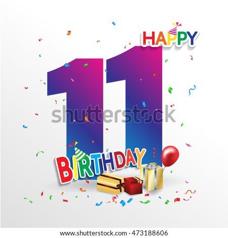 Happy Birthday 11 Date Fun Celebration Stock Vector