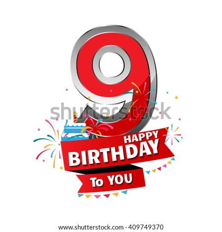 Happy Birthday 9 date , fun celebration greeting card with number, text label and colorful geometry design. EPS10 vector. - stock vector