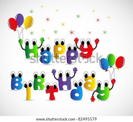 happy birthday decoration - stock vector