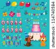 Happy Birthday design elements set - stock photo