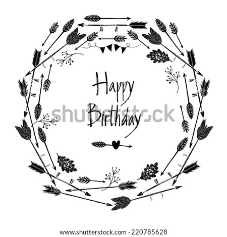Happy Birthday Design round frame of arrows and leaves - stock vector