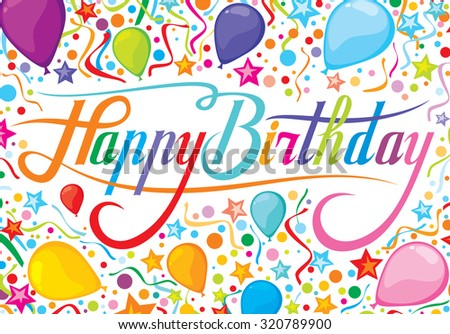 happy birthday design with party streamers, balloons and confetti (children's birthday party design) - stock vector