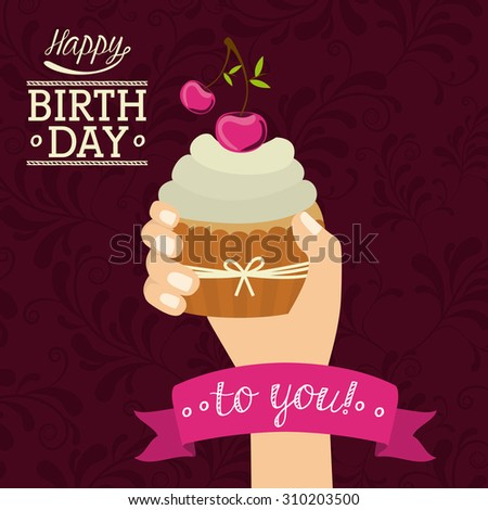 Happy Birthday digital design, vector illustration eps 10 - stock vector