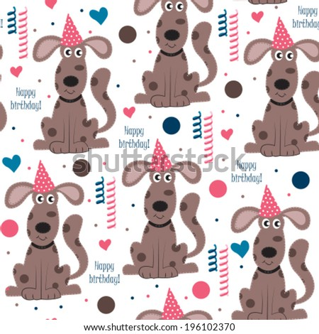 Happy birthday dog pattern vector illustration