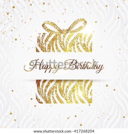 Happy birthday elegant card with golden gift and  bow. Birthday gold greeting card. Vector illustration - stock vector