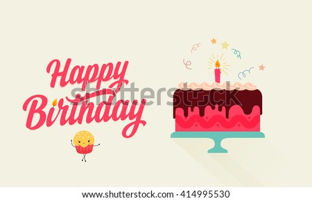 Birthday Cake Images Vektor ~ Happy birthday flat birthday cake illustration stock vector