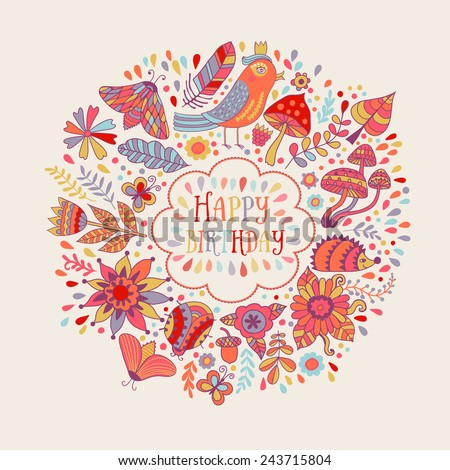 Happy birthday floral frame, vector doodle invitation background - stock vector