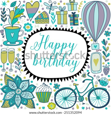 Happy birthday floral frame, vector doodle invitation background. Greeting card. - stock vector