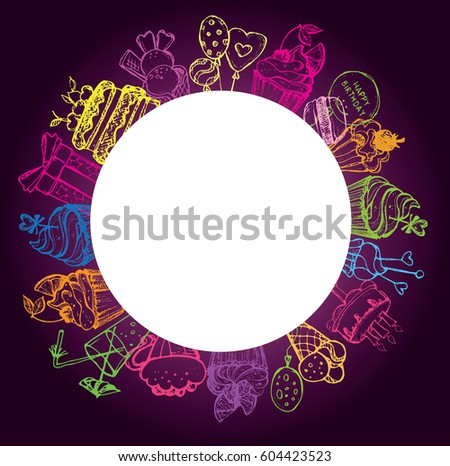 Happy Birthday Frame Doodle Present Cupcakes Stock Vector 604423523 ...