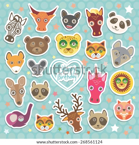 Happy birthday. Funny Animals card template on light blue Polka dot background. Vector - stock vector