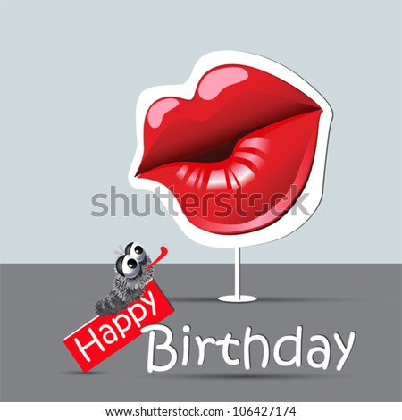 happy birthday funny card eyes and smile kiss - stock vector