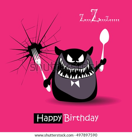 Happy Birthday Funny Card Smile Monsters Stock Vector 497897590