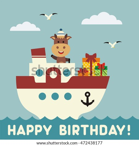 Happy birthday Funny cow on the ship with birthday gift. Happy birthday card