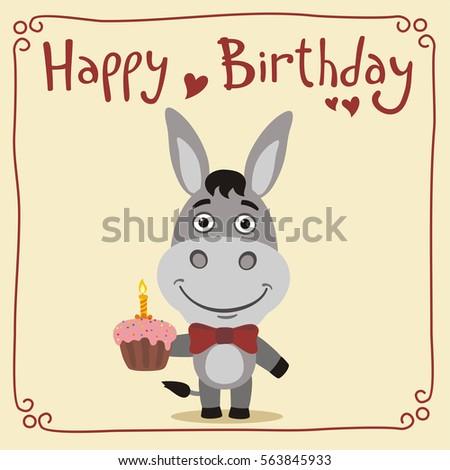 Happy Birthday Funny Donkey Cake Greeting Stock Vector Royalty Free