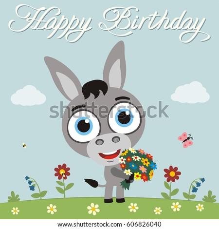 Funny Donkey Images RoyaltyFree Images Vectors – Donkey Birthday Card