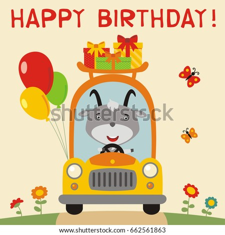 Happy birthday funny goat rides car stock vector 662561863 happy birthday funny goat rides in car with birthday gifts and balloons birthday card bookmarktalkfo Image collections