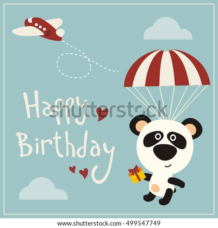 Happy birthday funny panda bear flying stock vector 499547749 happy birthday funny panda bear flying on parachute with gift greeting card negle Image collections