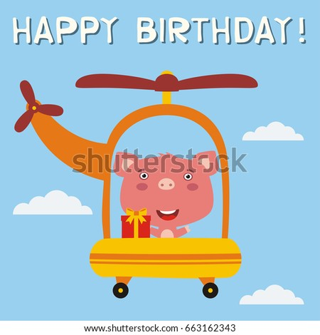Happy birthday funny pig gift flying 663162343 happy birthday funny pig with gift flying on helicopter greeting card voltagebd Image collections