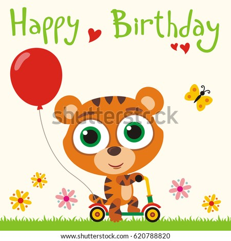 Happy Birthday Funny Tiger Going On Stock Vector 2018 620788820