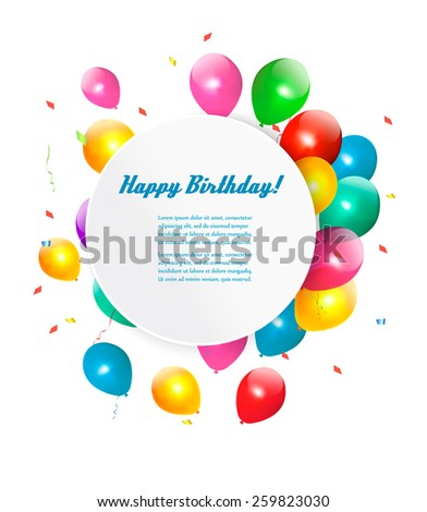 Happy birthday gift card with baloons. Vector. - stock vector