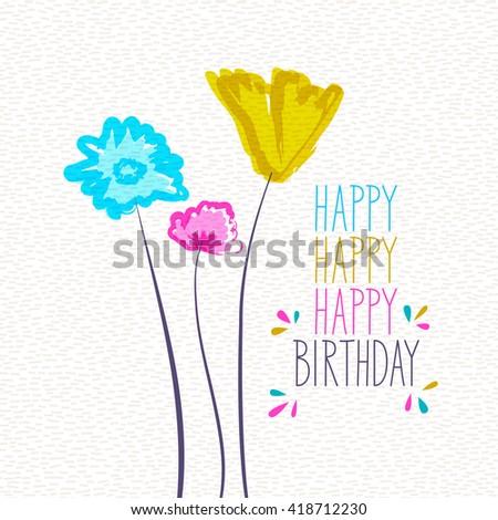happy birthday, greeting card - stock vector